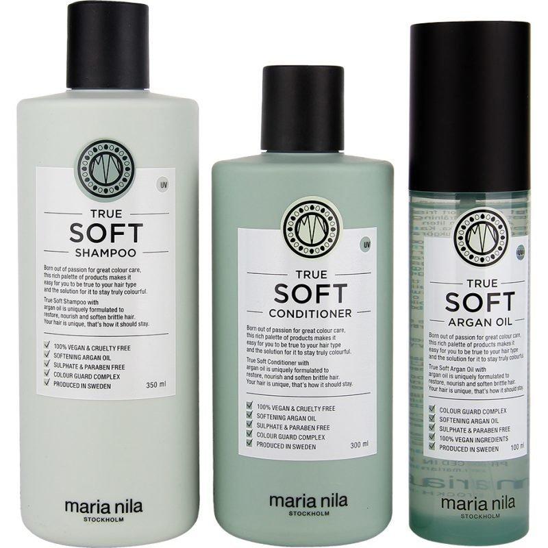 Maria Nila True Soft Trio Shampoo 350ml Conditioner 300ml Argan Oil 100ml
