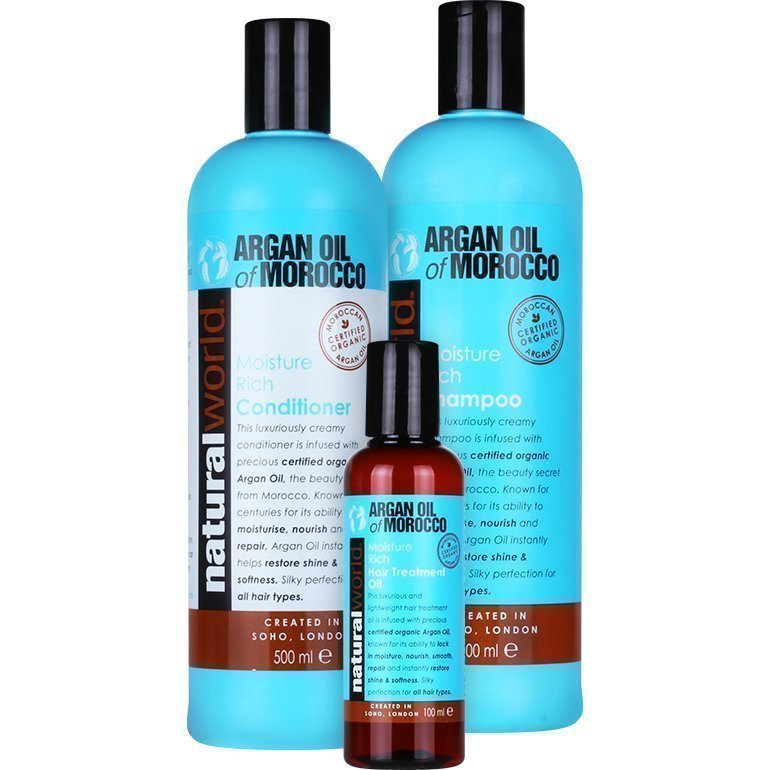 Moroccan Argan Oil Moisture Rich Trio Moisture Repair Hair Treatment Oil 100ml Conditioner 500ml Shampoo 500ml