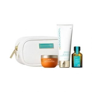 Moroccanoil Cleanse Travel Kit Body Buff Vartalonkuorinta + Cleansing Bar Vartalosaippua + Treatment Hiusöljy