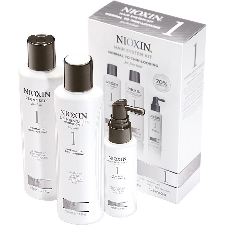 Nioxin Hair System Kit 1 (Fine Hair) Cleanser 150ml Scalp Revitaliser Conditioner 150ml Scalp Treatment 40ml