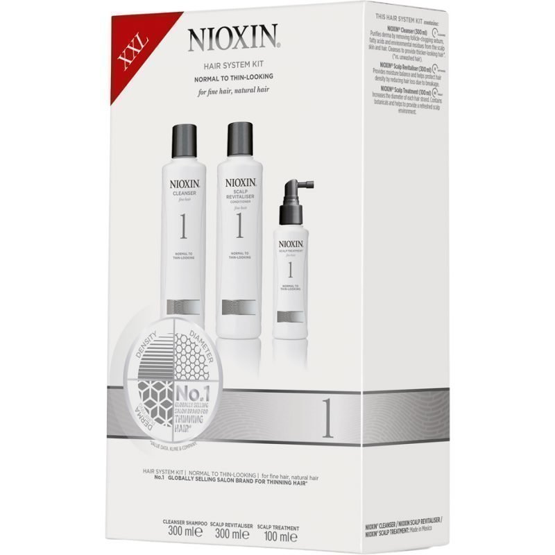 Nioxin Hair System Kit 1 (Fine Hair) Cleanser 300ml Scalp Revitaliser Conditioner 300ml Scalp Treatment 100ml