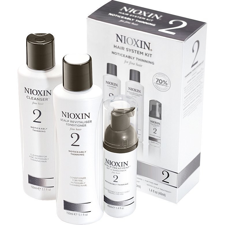 Nioxin Hair System Kit 2 (Fine Hair) Cleanser 150ml Scalp Revitaliser Conditioner 150ml Scalp Treatment 40ml