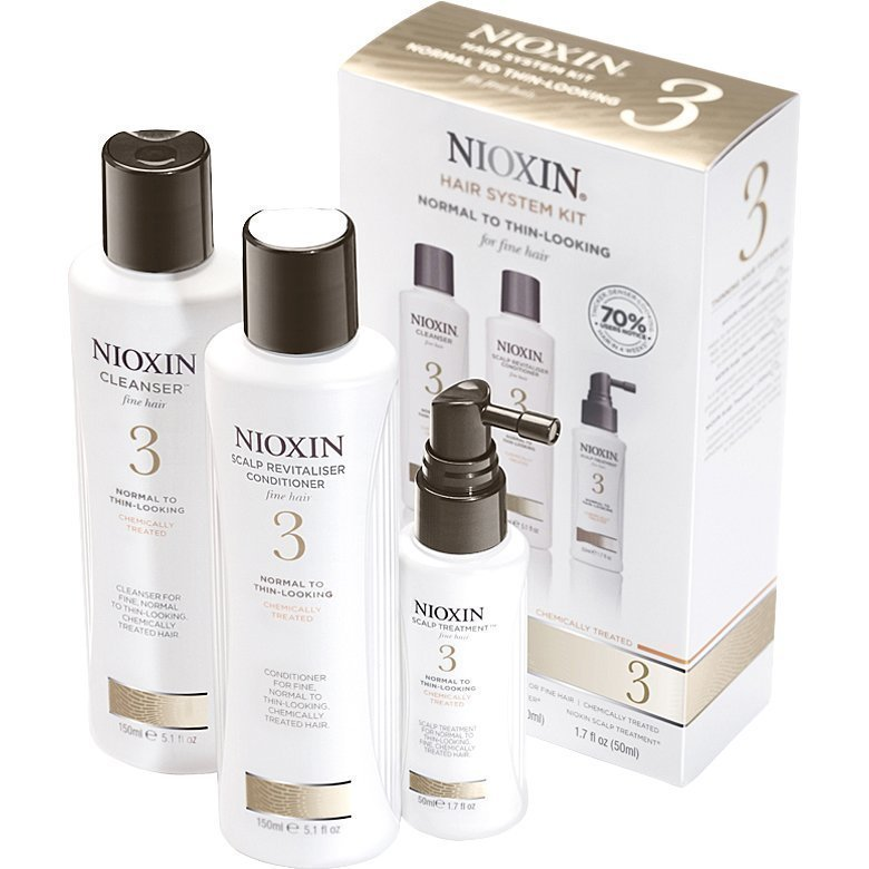 Nioxin Hair System Kit 3 (Fine Hair) Cleanser 150ml Scalp Revitaliser Conditioner 150ml Scalp Treatment 50ml