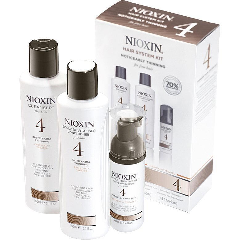 Nioxin Hair System Kit 4 (Fine Hair) Cleanser 150ml Scalp Revitaliser Conditioner 150ml Scalp Treatment 40ml