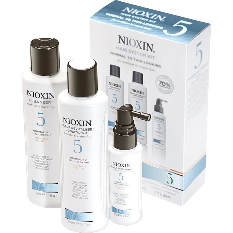 Nioxin Hair System Kit 5 (Medium to Coarse Hair) Cleanser 150ml Scalp Revitaliser Conditioner 150ml Scalp Treatment 50ml