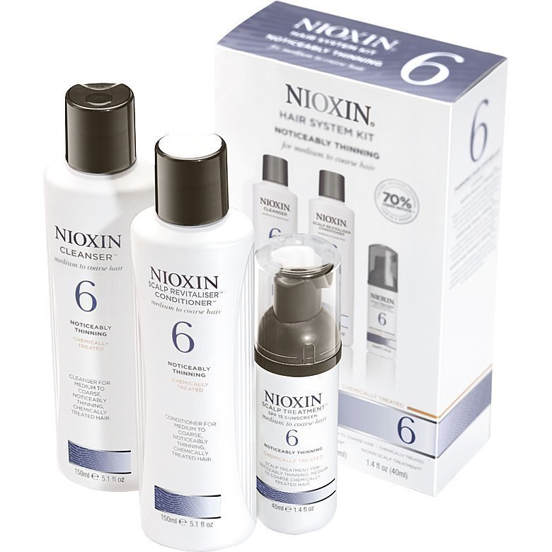 Nioxin Hair System Kit 6 (Medium to Coarse Hair) Cleanser 150ml Scalp Revitaliser Conditioner 150ml Scalp Treatment 40ml
