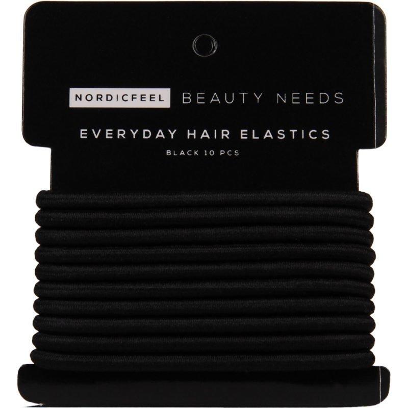 NordicFeel Beauty Needs Everyday Hair Elastics Black 10 Pcs