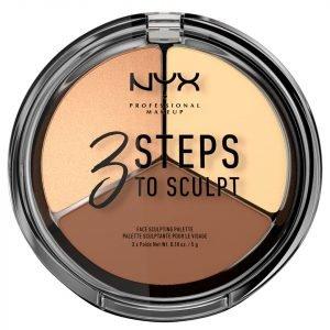 Nyx Professional Makeup 3 Steps To Sculpt Face Sculpting Palette Light