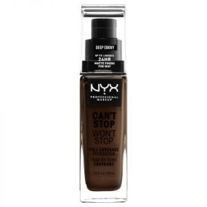 Nyx Professional Makeup Can't Stop Won't Stop 24 Hour Foundation Various Shades Deep Ebony
