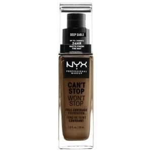 Nyx Professional Makeup Can't Stop Won't Stop 24 Hour Foundation Various Shades Deep Sable