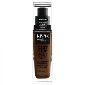 Nyx Professional Makeup Can't Stop Won't Stop 24 Hour Foundation Various Shades Deep Walnut