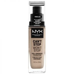 Nyx Professional Makeup Can't Stop Won't Stop 24 Hour Foundation Various Shades Porcelain
