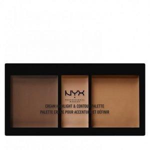 Nyx Professional Makeup Cream Highlight And Contour Palette Korostusväripaletti Deep