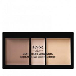 Nyx Professional Makeup Cream Highlight And Contour Palette Korostusväripaletti Light