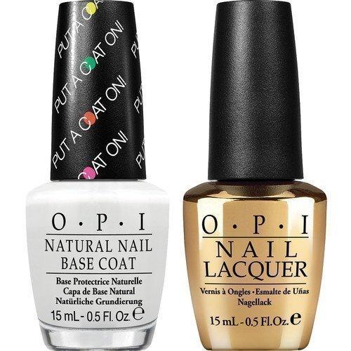 OPI Nail Lacquer Don't Speak 18K Gold Top Coat + Base Coat