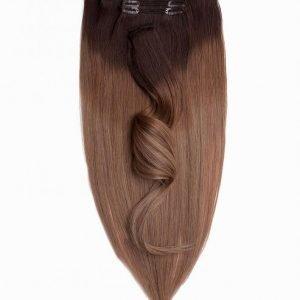 Rapunzel Of Sweden 50 Cm Ombre Clip-On Set 7 Pieces Hiustenpidennys Ash Brown