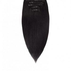 Rapunzel Of Sweden Clip-On Set European 7 Pieces 50cm Hiustenpidennys Black