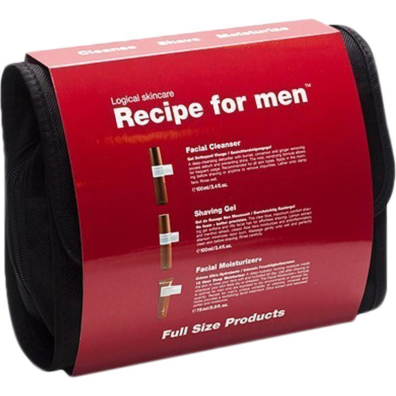Recipe for men 3-Way Gift Bag Red Facial Cleanser 100ml Clear Shaving Gel 100ml Facial Moisturizer 75ml