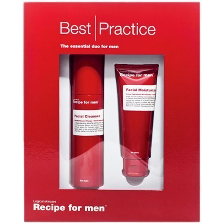 Recipe for men Best Practice Gift Box Facial Moisturizer 75ml Facial Clenaser 100ml