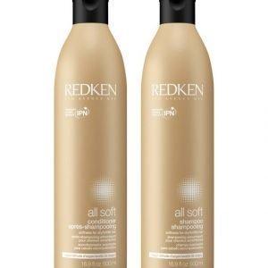 Redken All Soft Shampoo Ja Hoitoaine 500 + 500 ml Jättikoko