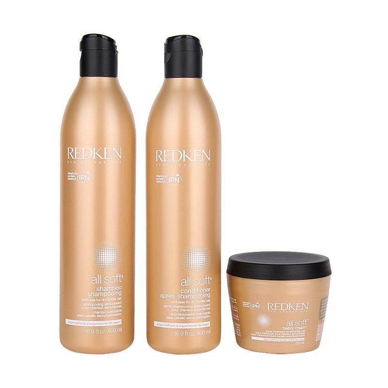 Redken All Soft Trio Shampoo 500ml Conditioner 500ml Heavy Cream 250ml
