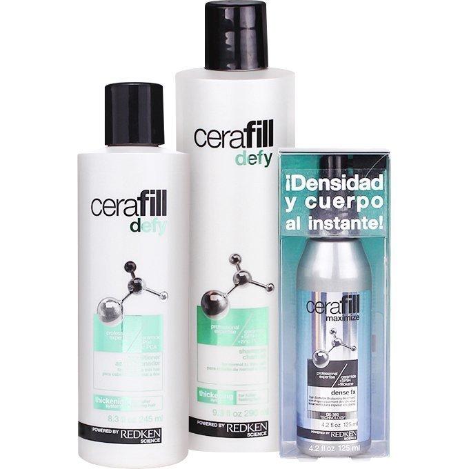 Redken Cerafill Defy Trio Conditioner (Normal/Thin Hair) 245ml Shampoo (Normal/Thin Hair) 290ml Dense Fx Treatment 125ml