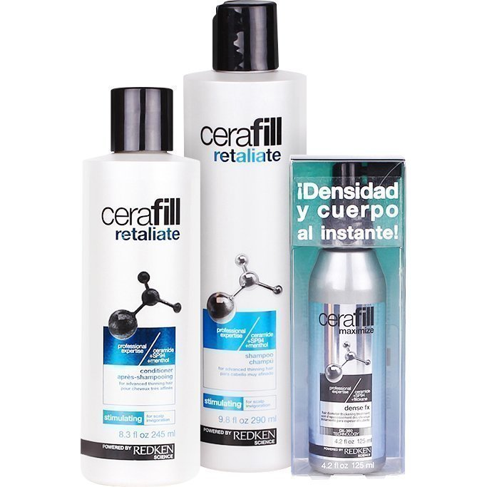 Redken Cerafill Retaliate Trio Shampoo (Advanced Thinning Hair) 290ml Conditioner (Advanced Thinning Hair) 245ml Dense Fx Treatment 125ml