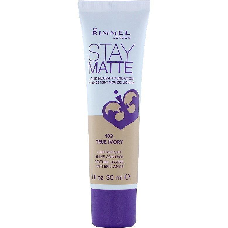 Rimmel Stay Matte Liquid Mousse Foundation 103 True Ivory 30ml