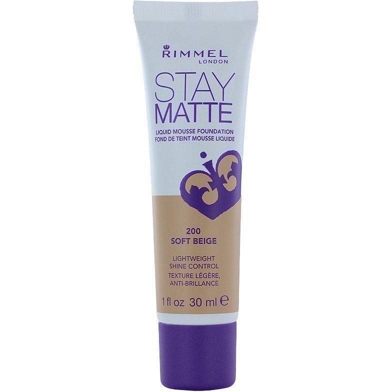 Rimmel Stay Matte Liquid Mousse Foundation 200 Soft Beige 30ml