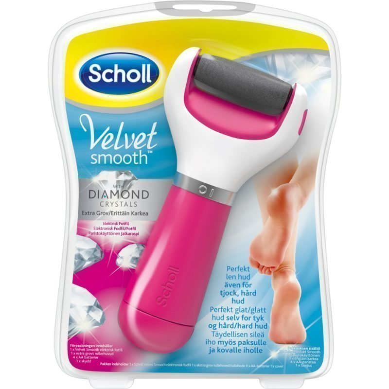 Scholl Velvet Smooth Diamond Crystals Electric Footfile (4xAA Batteries Included) (Extra Rough)