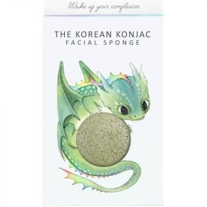 The Konjac Sponge Company Mythical Dragon Konjac Sponge Box And Hook Green Clay 30 G