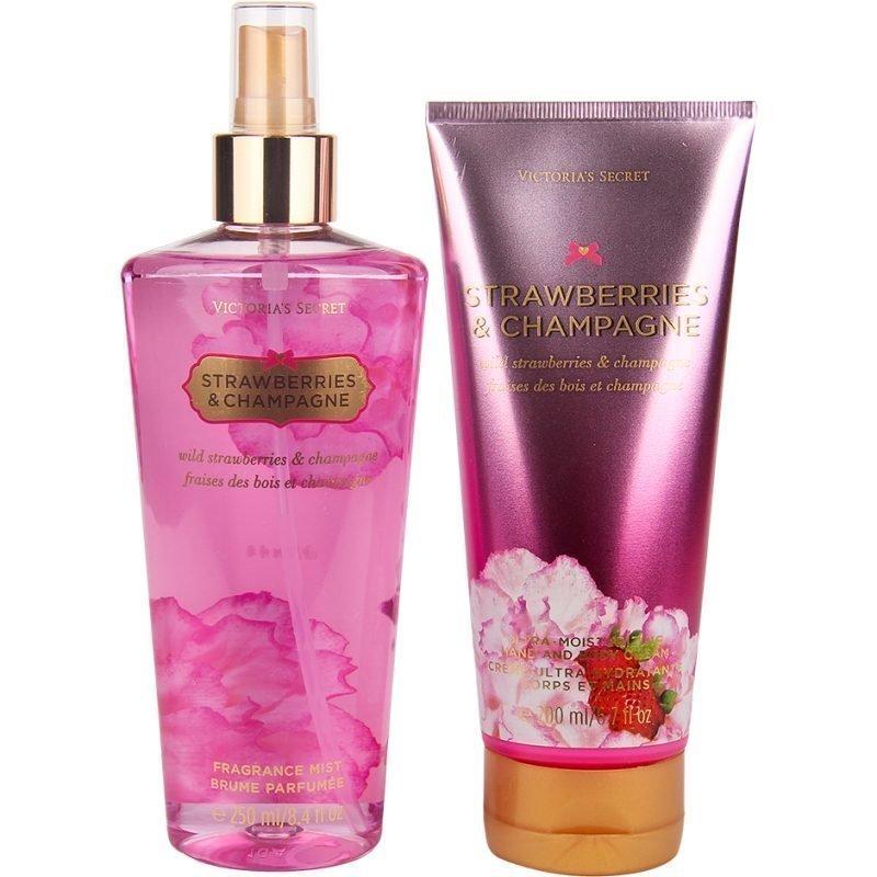 Victoria's Secret Strawberries & Champagne Duo Body Mist 250ml Ultra moisturizing Hand & Body Cream 200ml