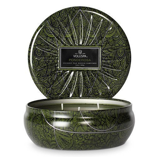 Voluspa 3 Wick Candle Metallic Decorative Tin Ponderosa