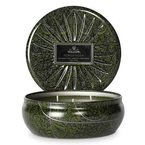 Voluspa 3 Wick Candle Metallic Decorative Tin Ponderosa