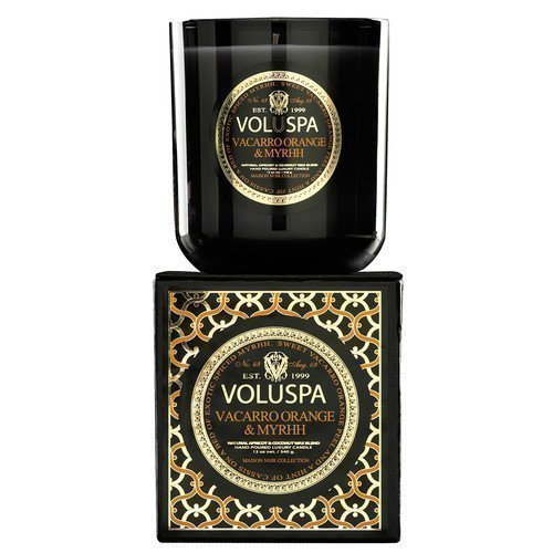 Voluspa Apricot & Coconut Wax Blend Perfumed Candle Vacarro Orange & Myrphh
