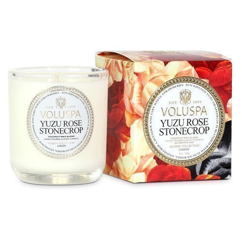 Voluspa Coconut Wax Blend Perfumed Candle Yuzu Rose Stonecrop 340 g