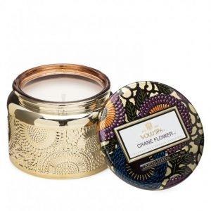 Voluspa Crane Flower Glass Jar Candle Tuoksukynttilä Valkoinen