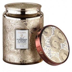 Voluspa Japonica Holiday Gilt Pomander & Hinoki Large Glass Jar Candle Tuoksukynttilä Valkoinen