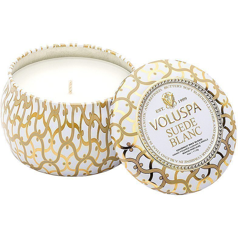 Voluspa Suede Blanc Decorative Tin Candle 99g