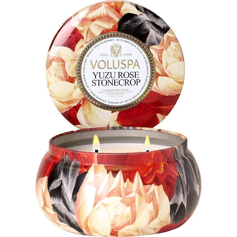 Voluspa Yuzo Rose StonecropWick Maison Metallo Candle 312g