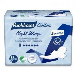 Vuokkoset Cotton Night Wings Terveysside 9 Kpl