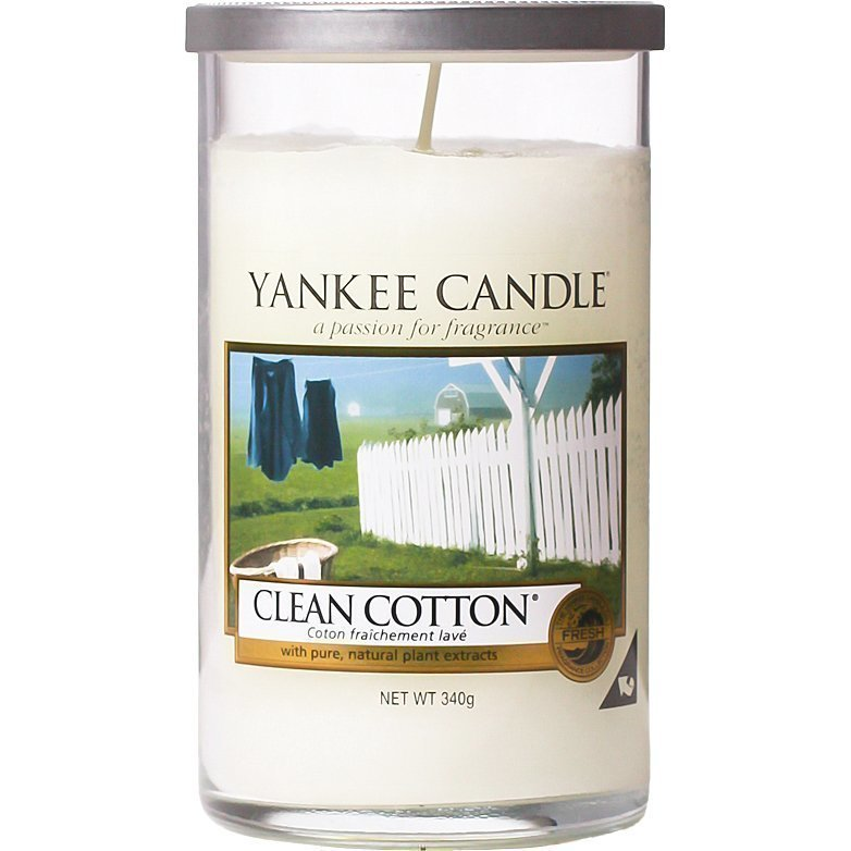 Yankee Candle Clean Cotton Glass Pillar 340g