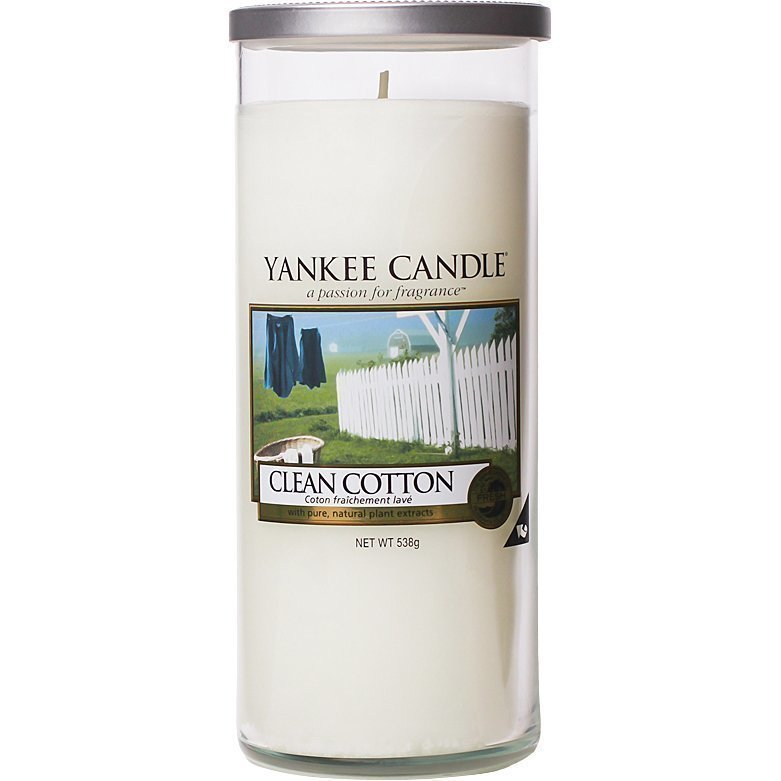 Yankee Candle Clean Cotton Glass Pillar 538g