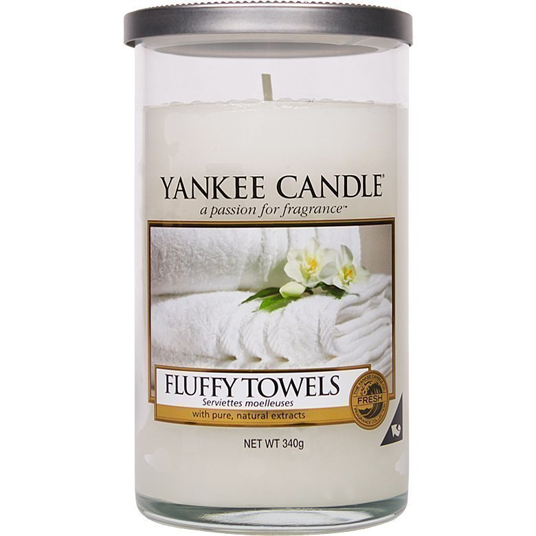 Yankee Candle Fluffy Towels Glass Pillar 340g